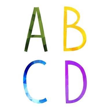 Low polygonal hand drawn alphabet.
