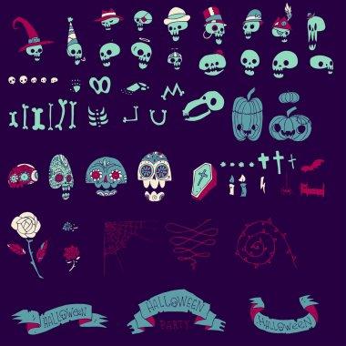 Big halloween elements set.