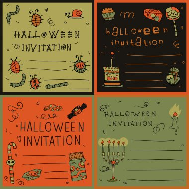 Halloween night postcard invitation set