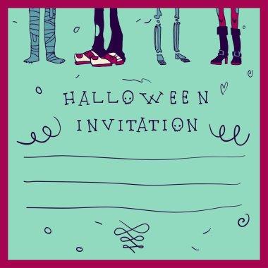 Happy halloween postcard invitation