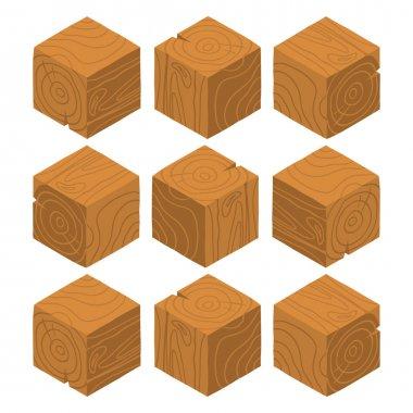 wood game brick cubes set.