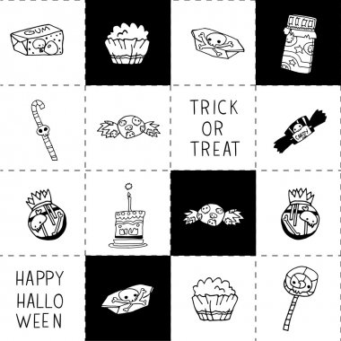 Halloween black and white candy background