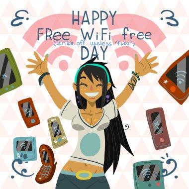 Happy Free wi-fi greeting card