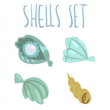 cartoon ocean shells set