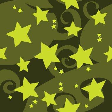 Cartoon green stars pattern.