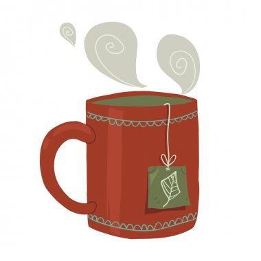 Cartoon cup of tea flat icon.