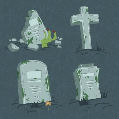 Cartoon flat Halloween tombs set.