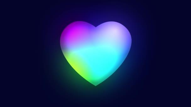 Neon Gradient pulzáló szív sötét háttér. Színes animáció