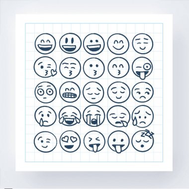 Pencil Drawing Smiley Pack. Vector Illustration icon