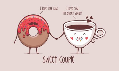 Sweet couple coffee and donut  vector illustration clip art vector