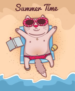 Summer Time and cat icon