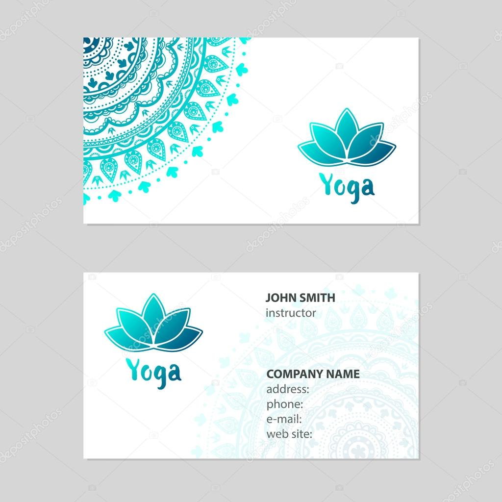 Business card Yoga — Stock Vector © moryachok_ #100736750