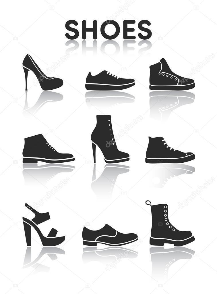 buy online 10360 f8a2a Icone di scarpe in bianco e nero — Vettoriali Stock ...