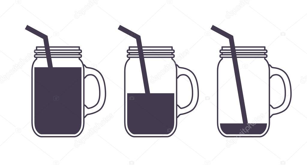 Jar full, empty and half icon — Stock Vector © moryachok_ #100737508