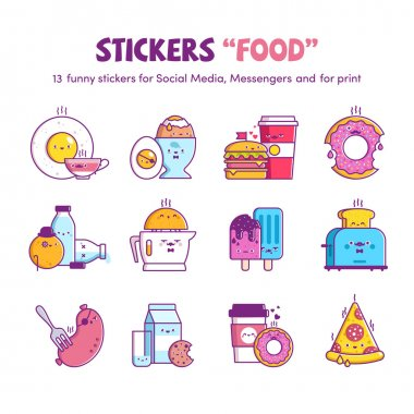 Funny stickers Food