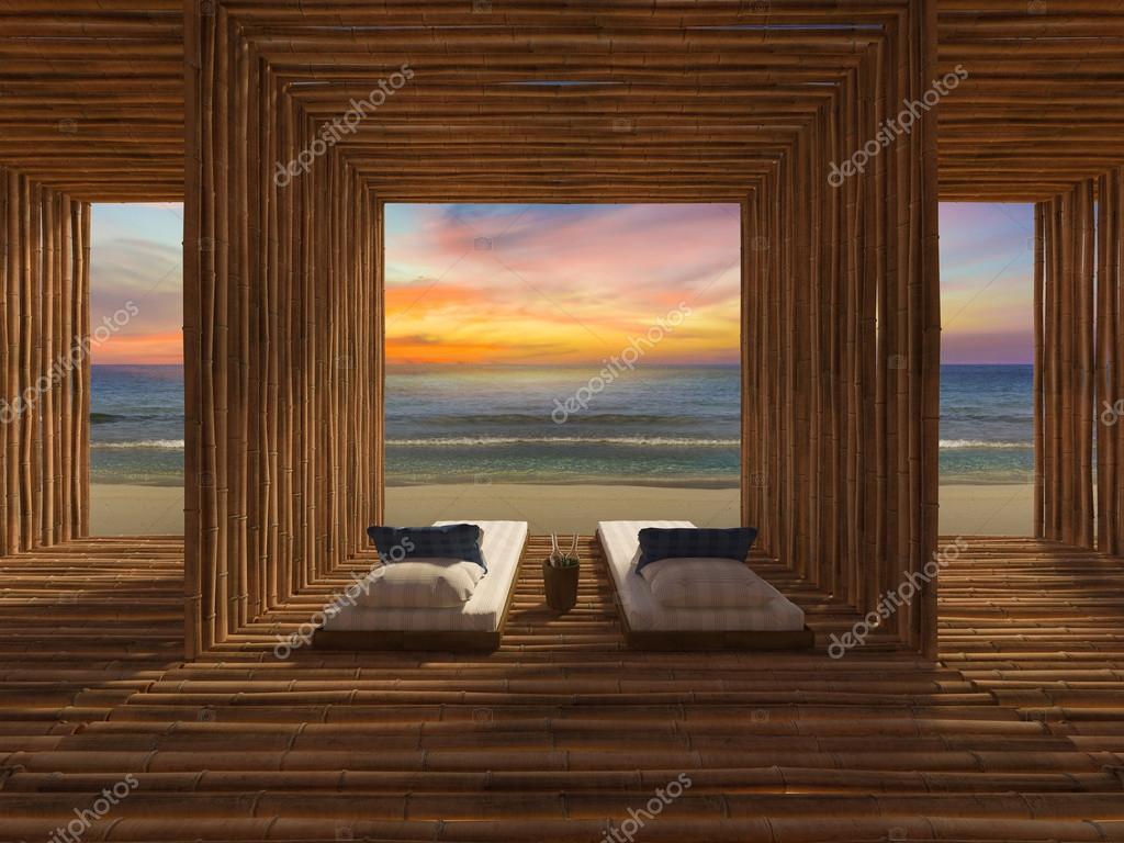 Bambus Zimmer Am Strand Von He Stockfoto C Neode 118619574