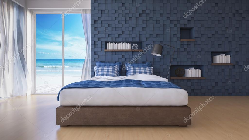 3d camera da letto vista mare — Foto Stock © Neode #119919432