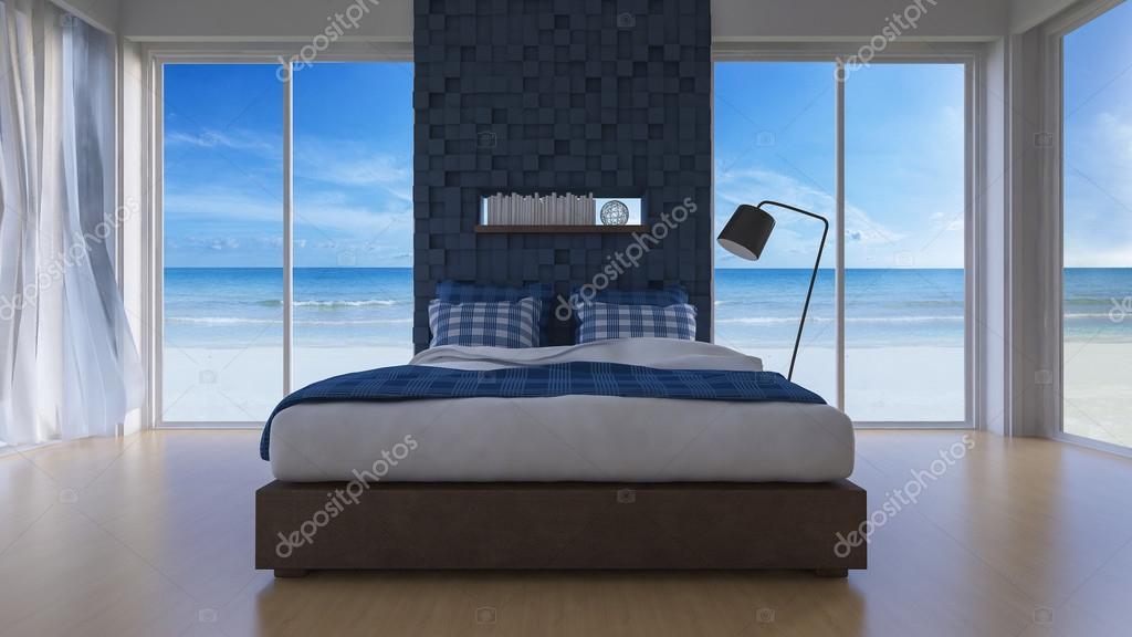 3d camera da letto vista mare — Foto Stock © Neode #122710200