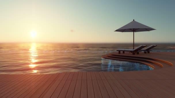 3D-Rendering-Aufnahmen von weißem Sonnenschirm und 2 hölzernen Liegen auf der Infinity-Pool-Holzterrasse, die das Meer als Hintergrund haben. Kinemagraph