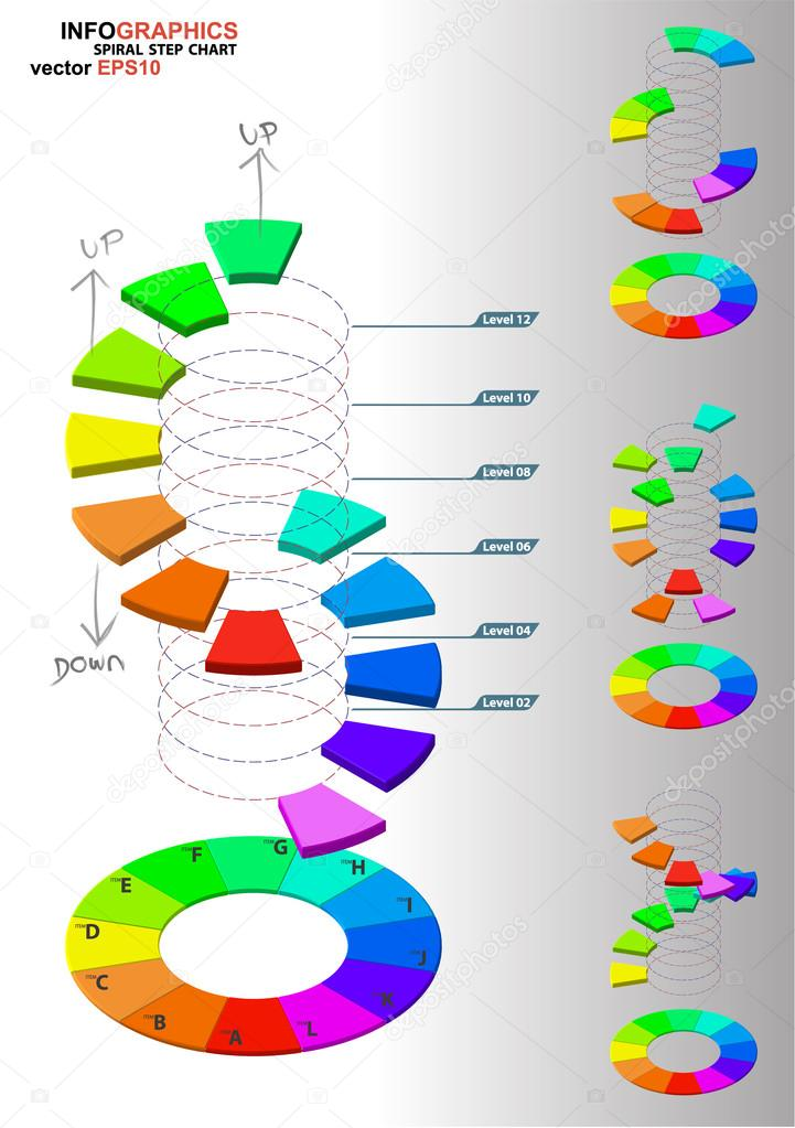 3D Dimensions Spiral Stair U2014 Stock Vector