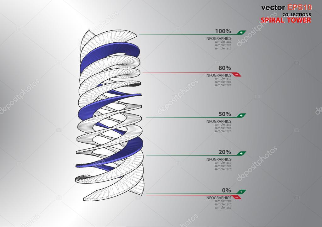 3D Dimensionen-Wendeltreppe — Stockvektor © Neode #72272621