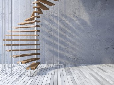 3d staircase hanged by cables