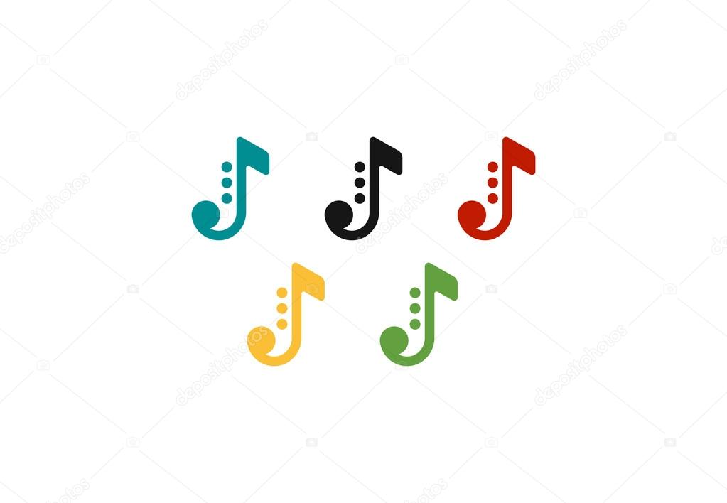 Colored Note Icons As Olimpic Rings Music Symbols Vector