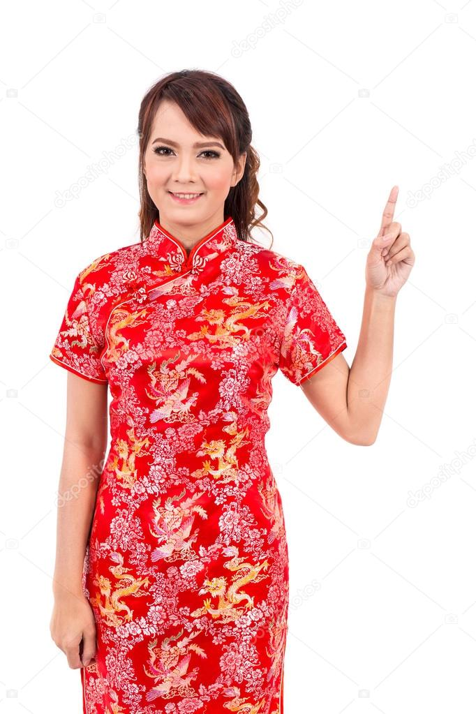 Asian chinese girl greeting in traditional chinese welcome guest asian chinese girl greeting in traditional chinese welcome guest chinese new year photo by powerbee photo m4hsunfo