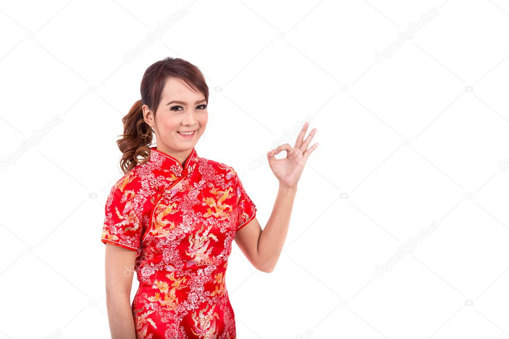 Asian chinese girl greeting in traditional chinese chinese new asian chinese girl greeting in traditional chinese chinese new year enjoy happy m4hsunfo