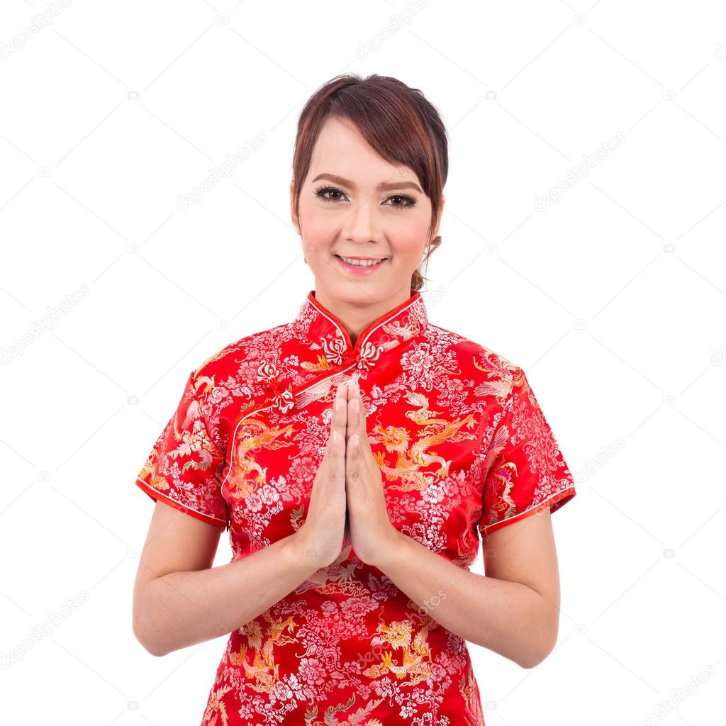 Asian chinese girl greeting in traditional chinese welcome gue asian chinese girl greeting in traditional chinese welcome gue stok fotoraf m4hsunfo