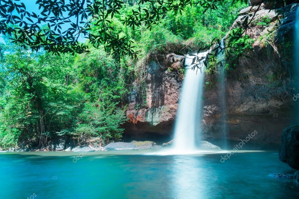 Amazing beautiful waterfalls in deep forest at Haew Suwat Waterfall in Khao Yai National Par