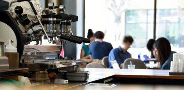 Espresso Machine in a Busy Coffee Shop