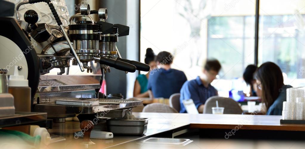 Espresso Machine In A Busy Coffee Shop Stock Photo