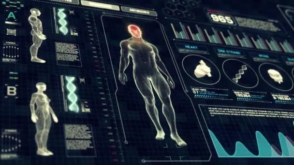 Teljes test anatómia vizsgálat futurisztikus érint képernyő diagnózis felület a 3D-s röntgen-Loop