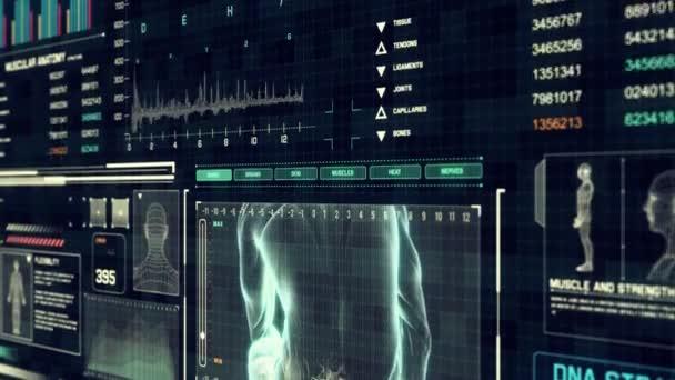 Männlichen Rückgrat Schmerz mit medizinischen Touch Screen Scan Interface in 3d Röntgen - Schleife