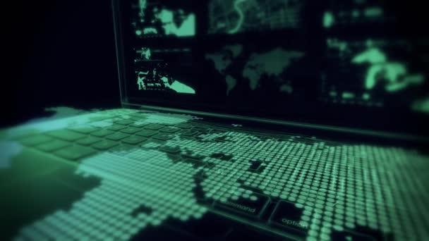 Sledování bezpečnostní kamery skenování holografické virtuální město