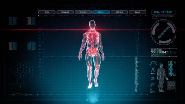 Futuristické lidské anatomie lékařské diagnózy s modrým pozadím