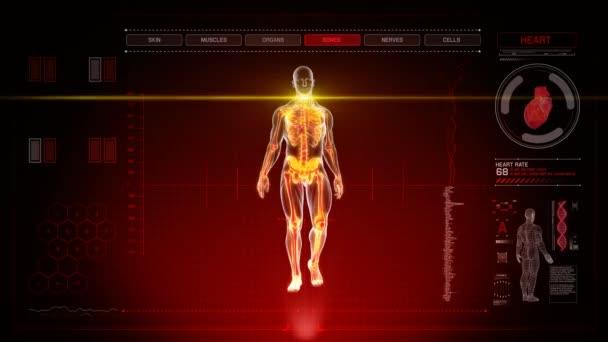 Futuristické lidské anatomie lékařské diagnózy s červeným pozadím