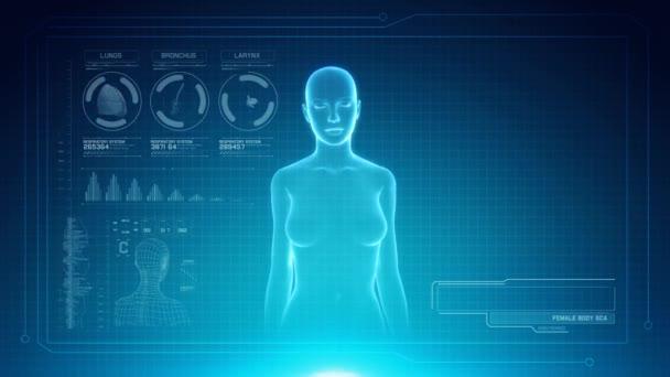 Ženské dýchacích anatomie na rozhraní virtuální futuristické modré dotykové obrazovky s zástupný symbol pro tituly. Bezešvá smyčka