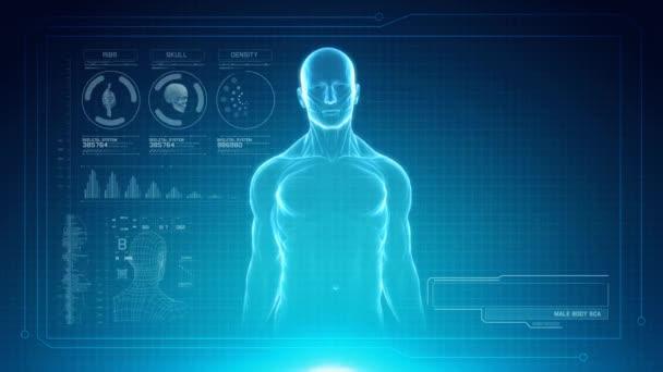 Mužské anatomii kostry vedl futuristická dotyková obrazovka rozhraní s zástupný symbol pro tituly. Bezešvá smyčka