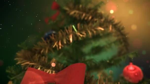 Vánoční stromeček úvodní animaci s krásné ozdoby a zlatou hvězdou