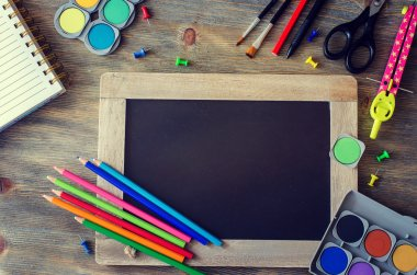 Stationery with chalk board, back to school concept copy space b