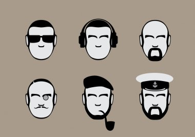 Set of icons of male stylized faces