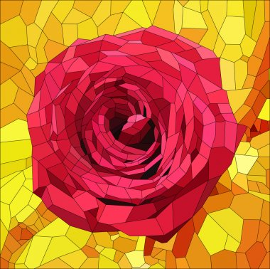 Stained glass with red rose on orange and yellow background , vector illustration