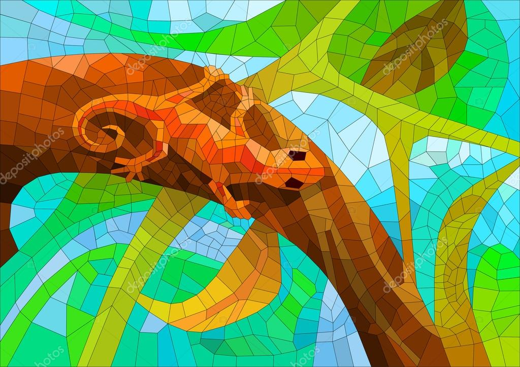 stained glass with a lizard in the forest under the sun