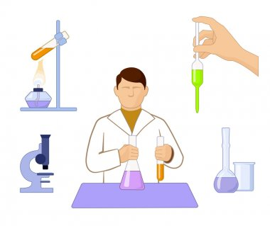 set of icons on chemistry issue on white background