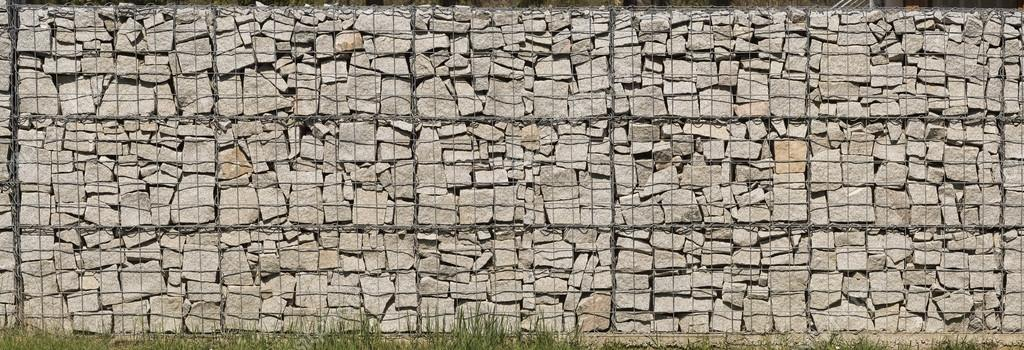 Gabion wall made of grey stones