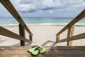 Grüne Stühle und blaues Sommer-Strandhaus.
