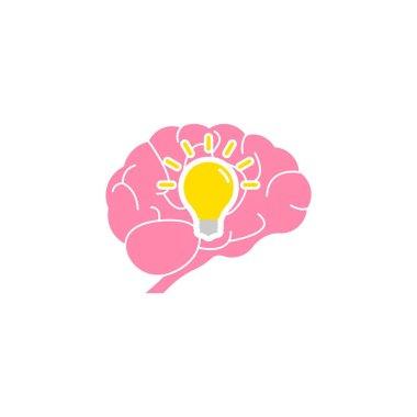Creative idea icon. Human brain with lightbulb idea concept. Vector