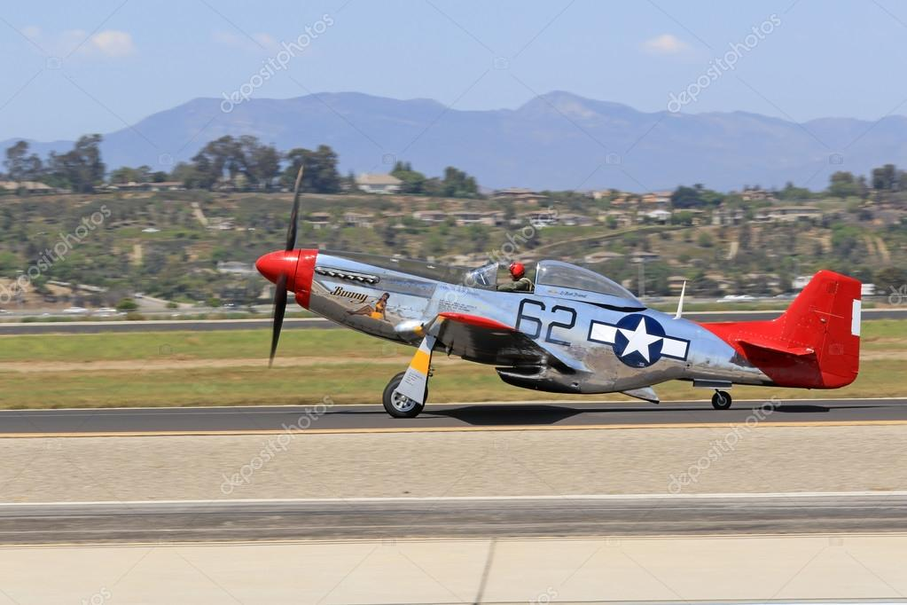Airplane Vintage Wwii P 51 Mustang Red Tail Performing At